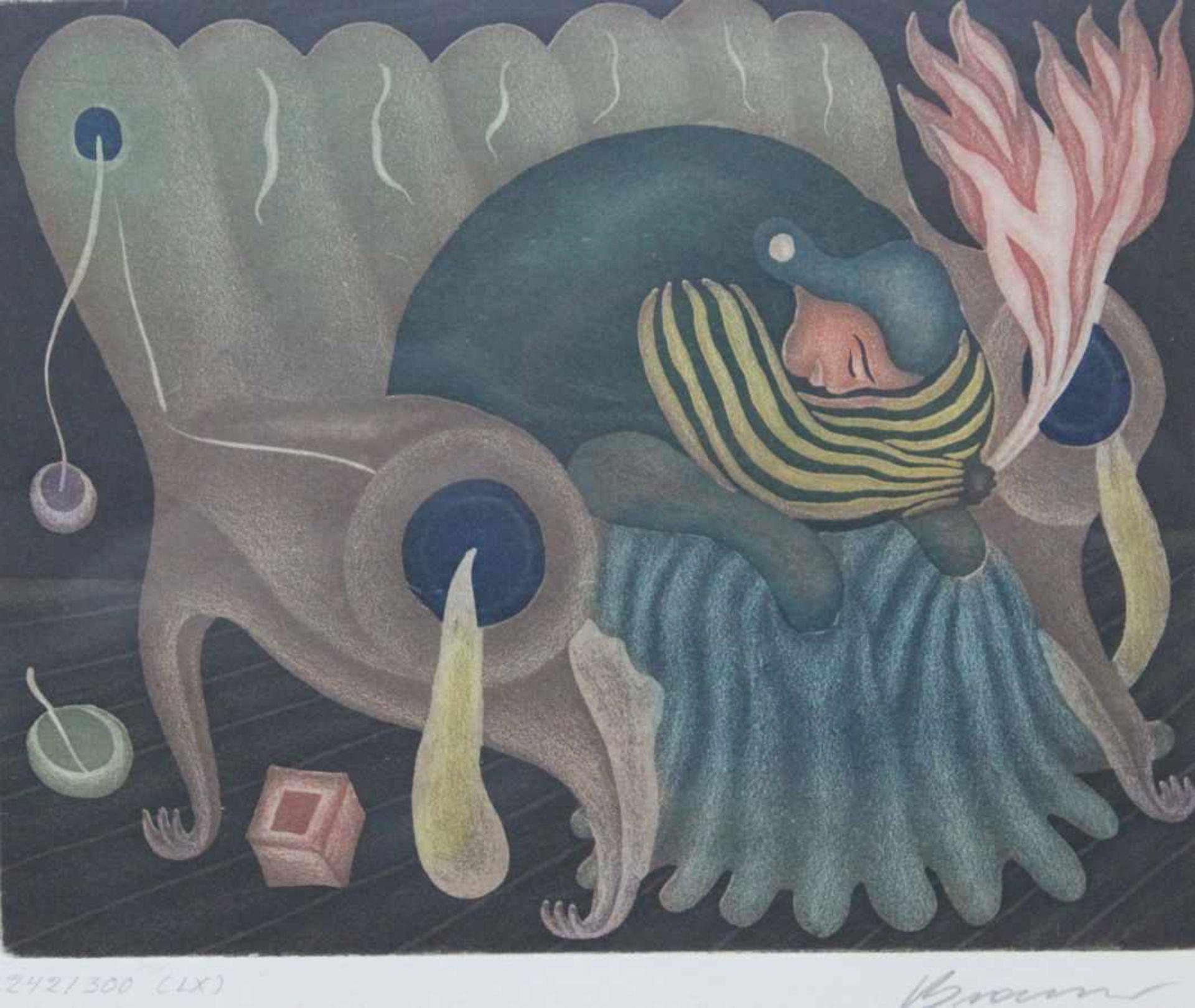 "Los 11 - Farbradierung - Arik Brauer (1929 Wien) ""Ohne Titel"", r.u. Bleistiftsignatur, Nr. 242/300 (LX),"