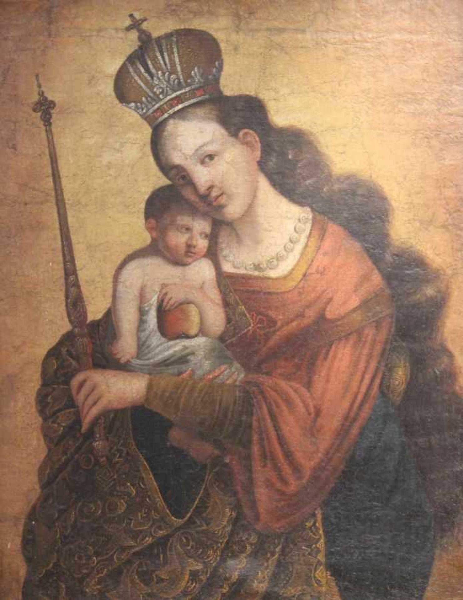 """Los 42 - Gemälde - Barock 18.Jahrhundert """"Maria mit Kind"""", anonymer Künstler, Öl auf Leinwand (doubliert),"""