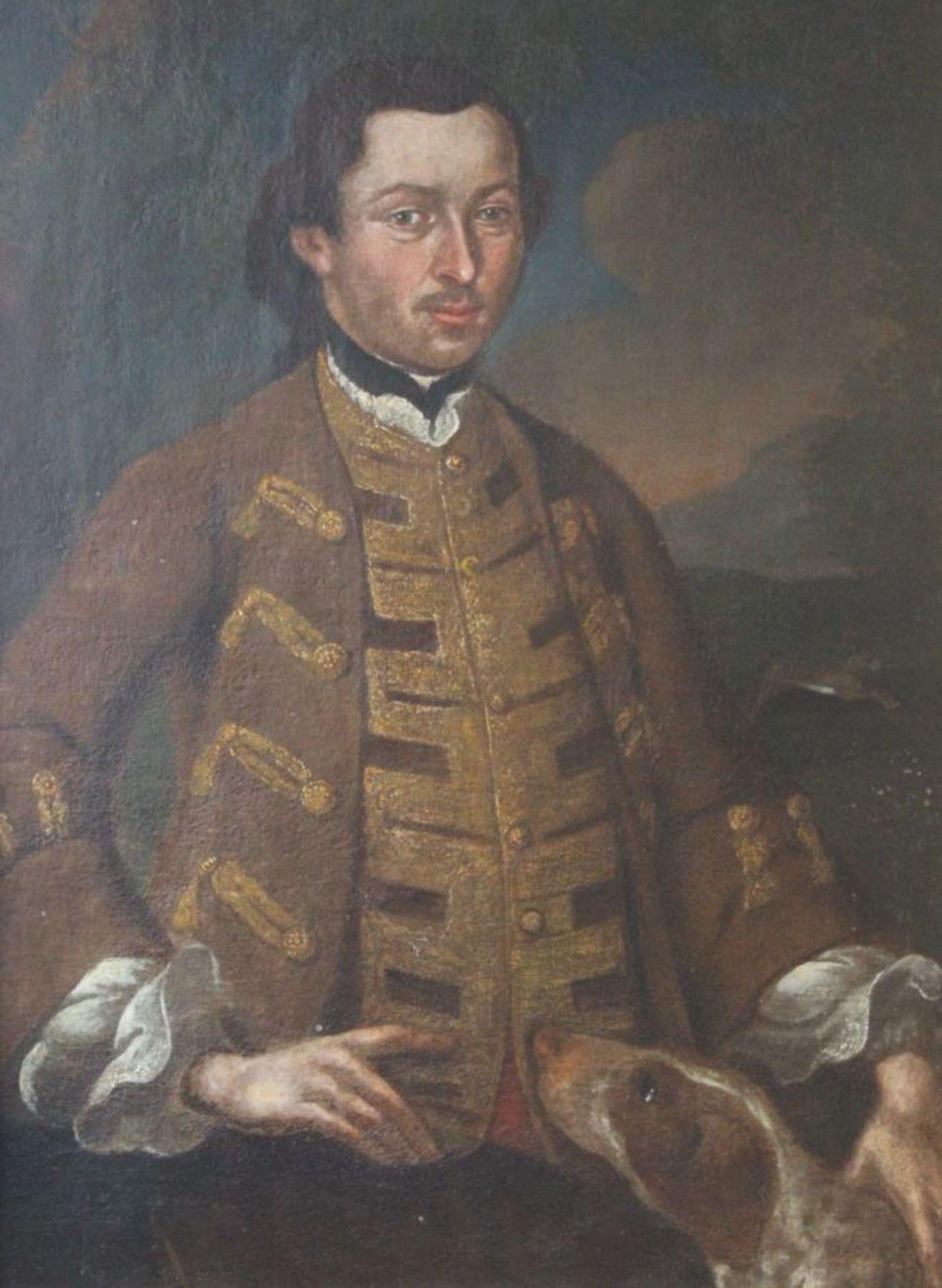 "Los 46 - Gemälde - Barock 18.Jahrhundert ""Adeliger mit Jagdhund"", anonymer Künstler, Öl auf Leinwand, rest."