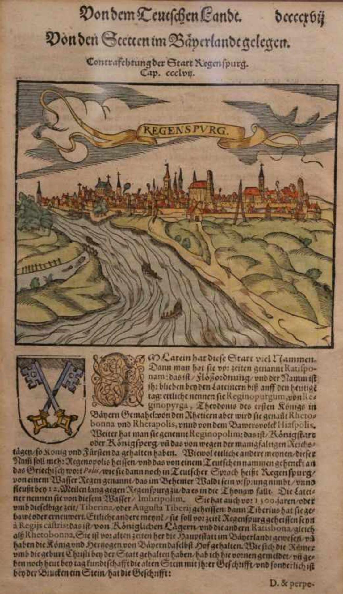"""Los 41 - Holzschnitt - Sebastian Münster (1488 Ingelheim - 1552 Basel) """"Regensburg, in Wirklichkeit"""