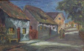 """Gemälde - deutsch um 1920 """"Straßenzug mit Personenstaffage"""", rückseitig undeutlich signiert Julius"""