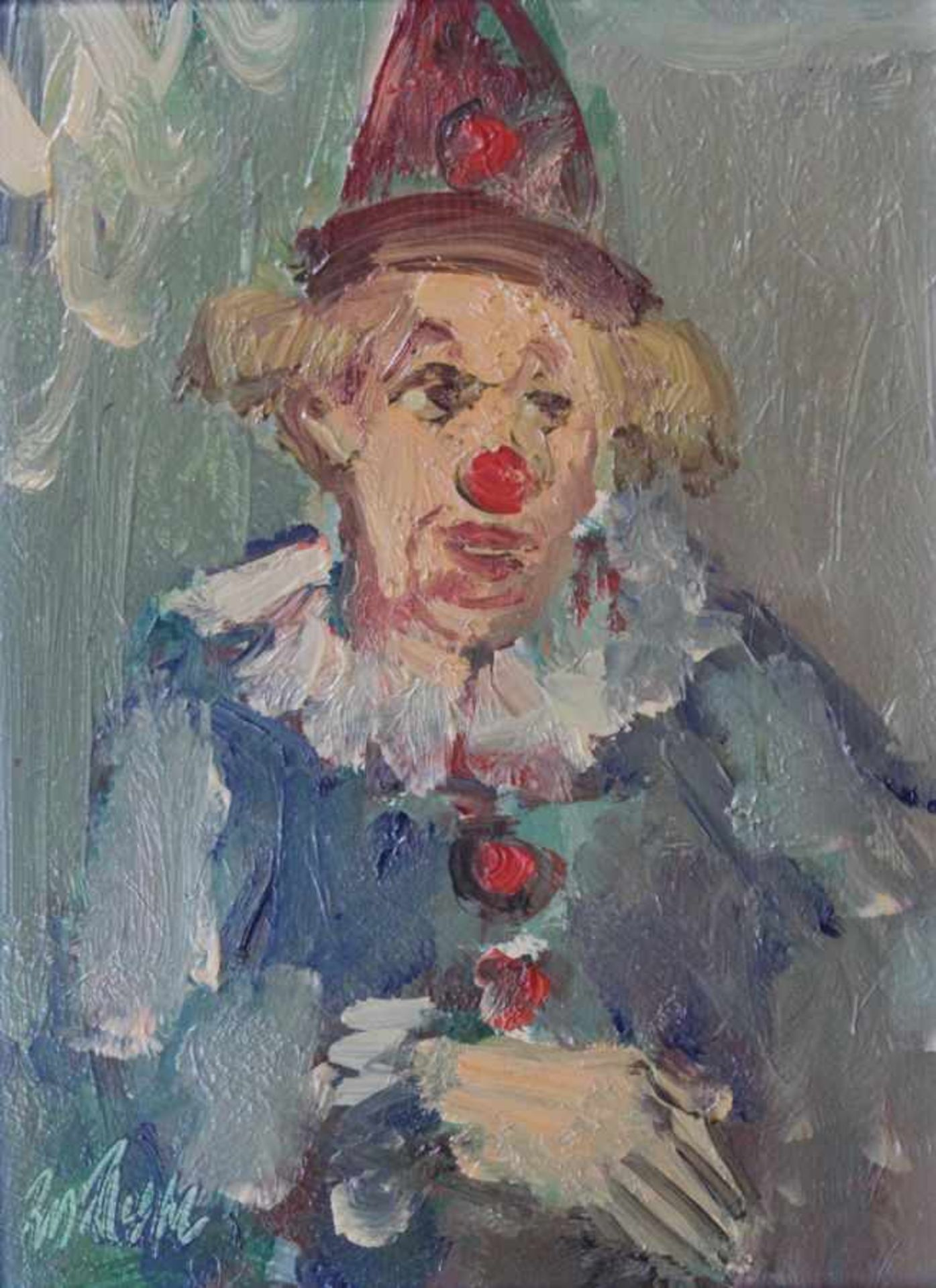 "Los 2 - Gemälde - Rupert Preissl (1925 Eitlbrunn bei Regensburg - 2003) ""Clown"", l.u. signiert, Öl auf"