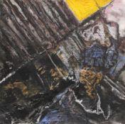 """Mischtechnik - Bernd Zimmer (1948 Planegg bei München) """"Ohne Titel"""", rückseitig Bleistiftsignatur,"""