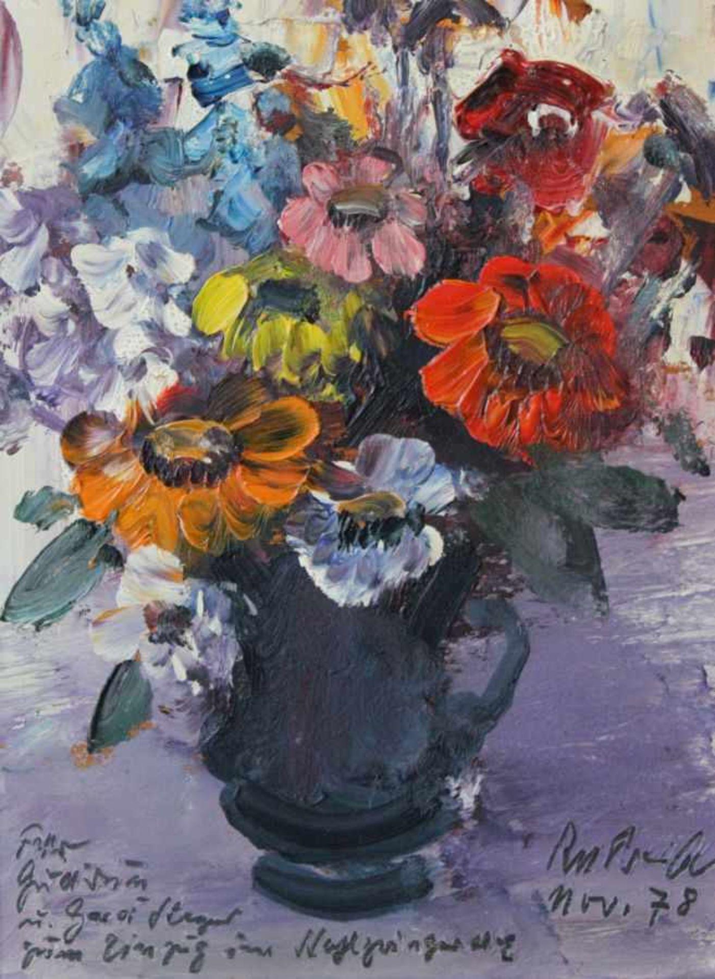 """Los 5 - Gemälde - Rupert Preissl (1925 Eitlbrunn bei Regensburg - 2003) """"Blumenstillleben"""", r.u. signiert"""