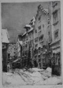 """Radierung - Prof. Paul Geissler (1881 Erfurt - 1965 Garmisch) """"Regensburg - Alte Strasse"""", r.u."""