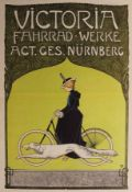 """Farbgrafik - Fritz Rehm (1871 München -1928 Lichtenfels) """"Victoria Fahrrad-Werke Act.Ges. Nürnberg"""","""