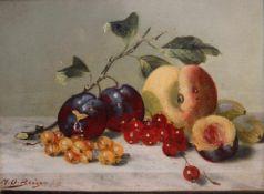 """Gemälde - Max Otto Beyer (1863 Berlin - 1902 Düsseldorf) """"Stillleben mit Obst"""", l.u. signiert, Öl"""