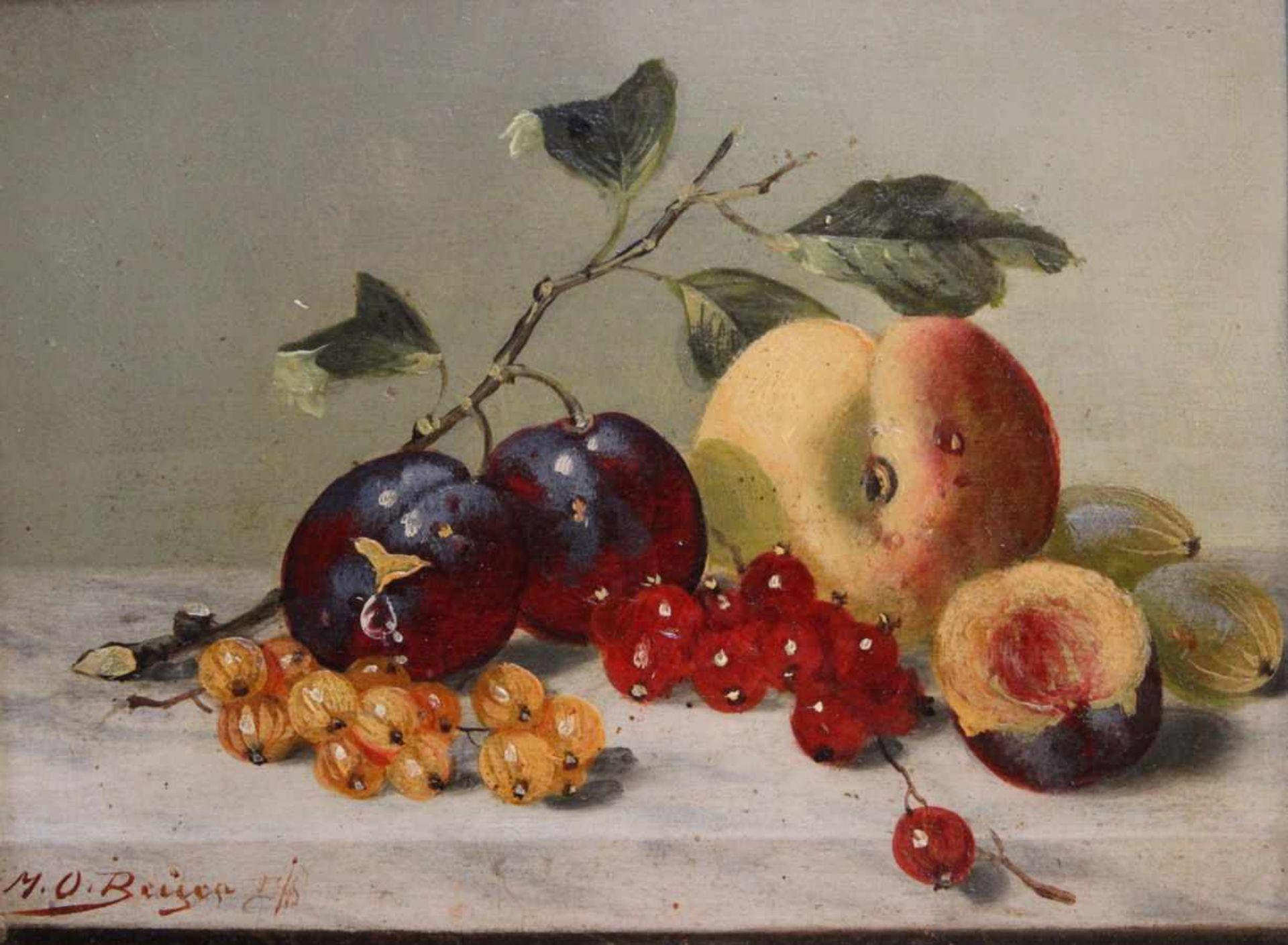 """Los 23 - Gemälde - Max Otto Beyer (1863 Berlin - 1902 Düsseldorf) """"Stillleben mit Obst"""", l.u. signiert, Öl"""