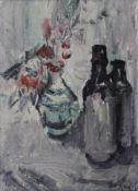 """Gemälde - Rupert Preissl (1925 Eitlbrunn bei Regensburg - 2003) """"Stillleben mit Vase und zwei"""