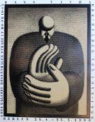 """Künstlerplakat - Hans Ticha (1940) """"Der Klatscher - zur Ausstellung: 1054 Galerie Rosenthaler"""