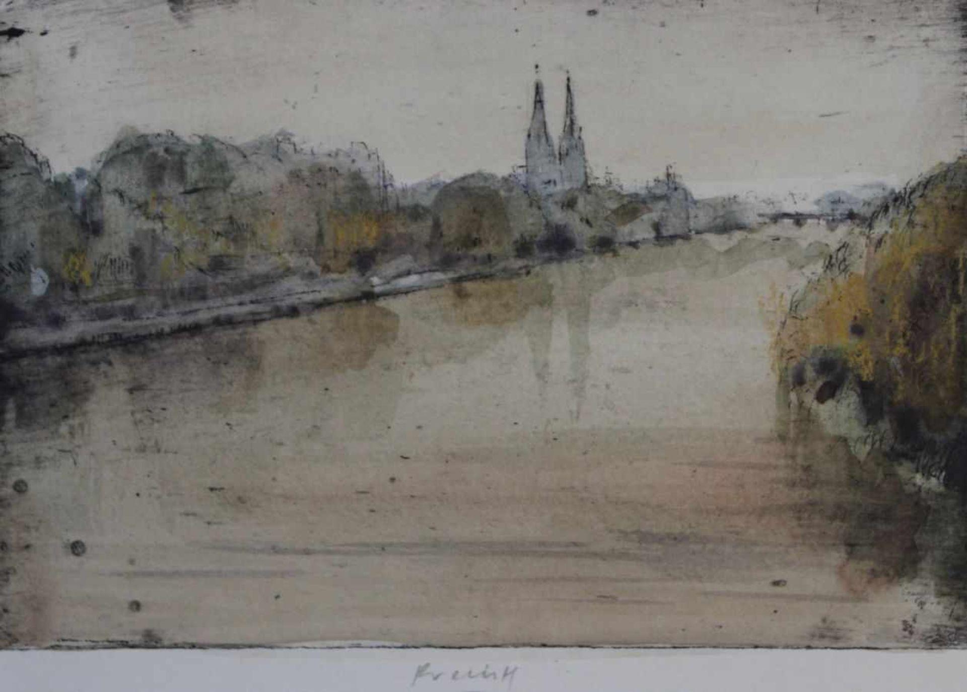 """Los 19 - Aquarell auf Radierung - Gerhard Prechtl (1951 Regensburg) """"Ansicht von Regensburg"""", u.M."""