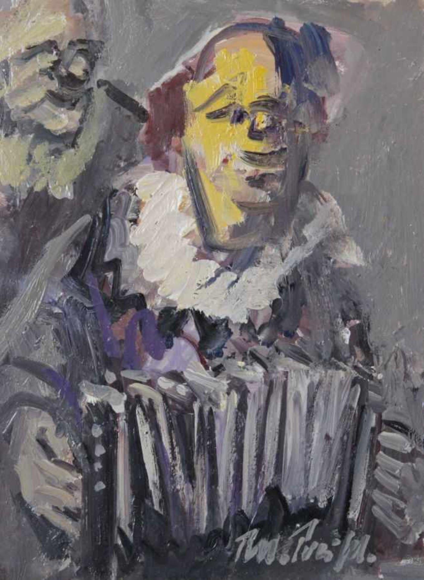 "Los 16 - Gemälde - Rupert Preissl (1925 Eitlbrunn bei Regensburg - 2003) ""Clown"", r.u. signiert, Öl auf"