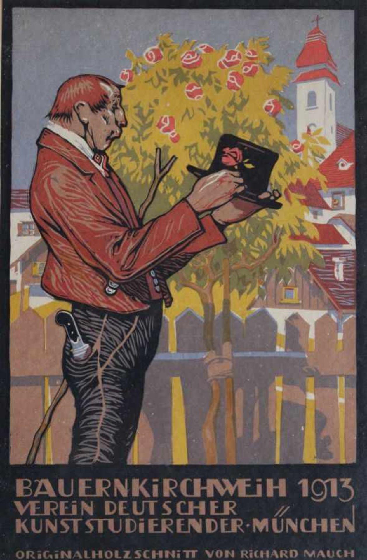 """Los 40 - Farbholzschnitt - Richard Mauch (1874 Weidling - 1921 Dietramszell) """"Bauernkirchweih 1913"""","""