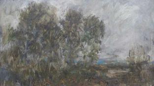 """Gemälde - Hermann Eller (1925 Zwiesel/Bayerischer Wald - 5.4.2009 Passau) """"Landschaft"""", l.u."""