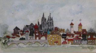 """Collage - 21. Jahrhundert """"Regensburg"""", r.u. signiert NOONAN, datiert 2002, Filzcollage"""