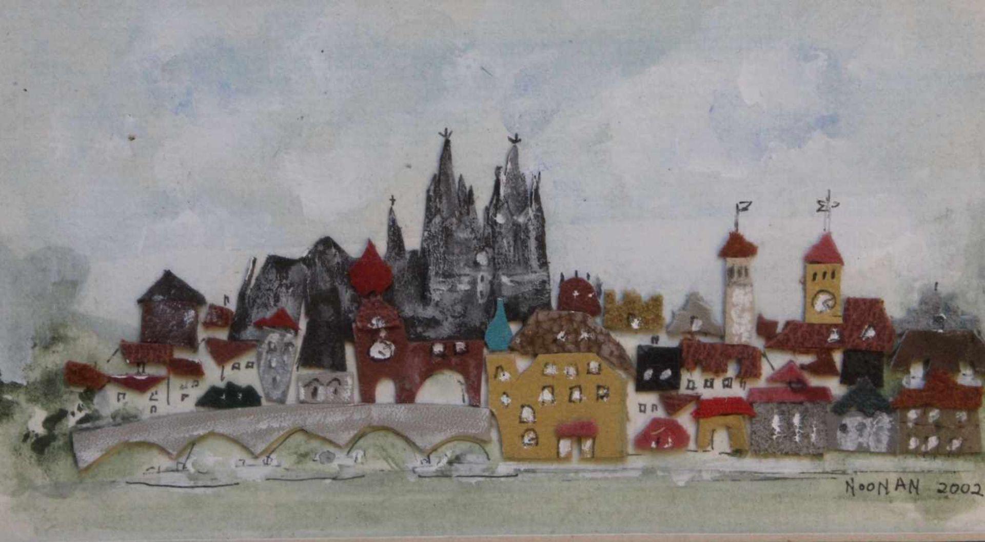 """Los 25 - Collage - 21. Jahrhundert """"Regensburg"""", r.u. signiert NOONAN, datiert 2002, Filzcollage"""