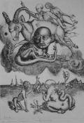 """Radierung - Th. Richter (XX.Jahrhundert) """"G.Benn: Theogonien"""", u.M. Bleistiftsignatur, Nr. 11/15,"""
