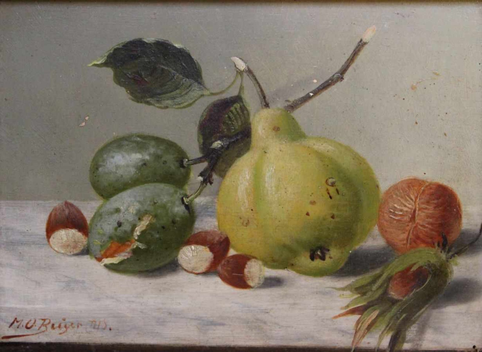 """Los 22 - Gemälde - Max Otto Beyer (1863 Berlin - 1902 Düsseldorf) """"Stillleben mit Obst und Nüssen"""", l.u."""