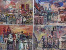 """Vier Mischtechniken - Rupert Preissl (1925 Eitlbrunn bei Regensburg - 2003) """"Stadtansichten"""","""