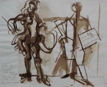 "Aquarell - Josef Oberberger (1905 Regensburg - 1994 Kreuth) ""Kubismus"", r.u. monogrammiert,"