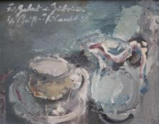 """Gemälde - Rupert Preissl (1925 Eitlbrunn bei Regensburg - 2003) """"Stillleben mit Krug und Tasse"""","""