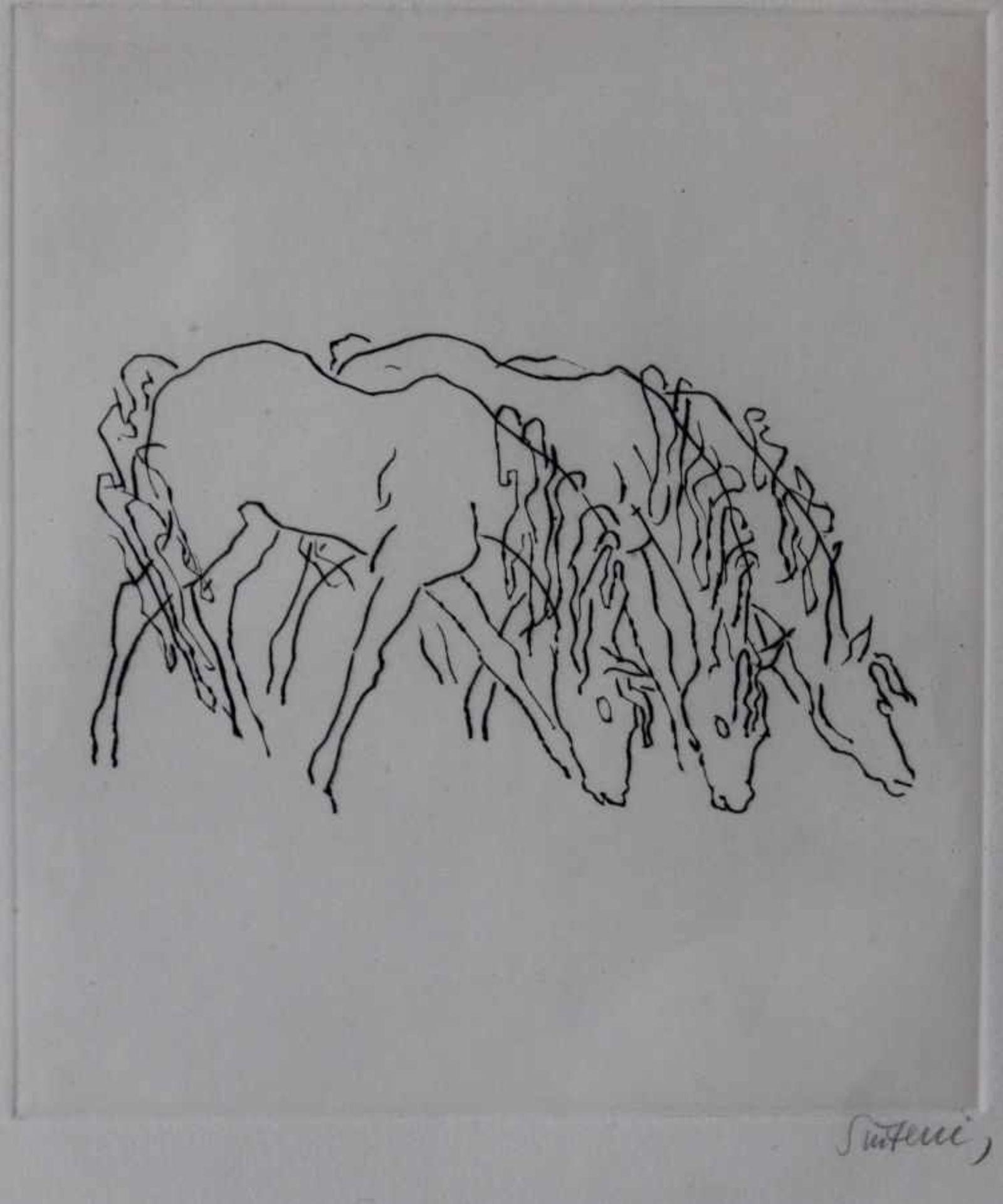 """Los 28 - Radierung - Renée Sintenis (1888 Glatz/Schlesien - 1965 Berlin) """"Drei grasende Fohlen"""", r.u."""