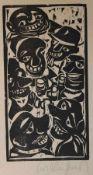"""Drei Holzschnitte - Kurt Mühlenhaupt (1921 Klein Ziescht - 2001 Bergsdorf) """"Ohne Titel"""","""
