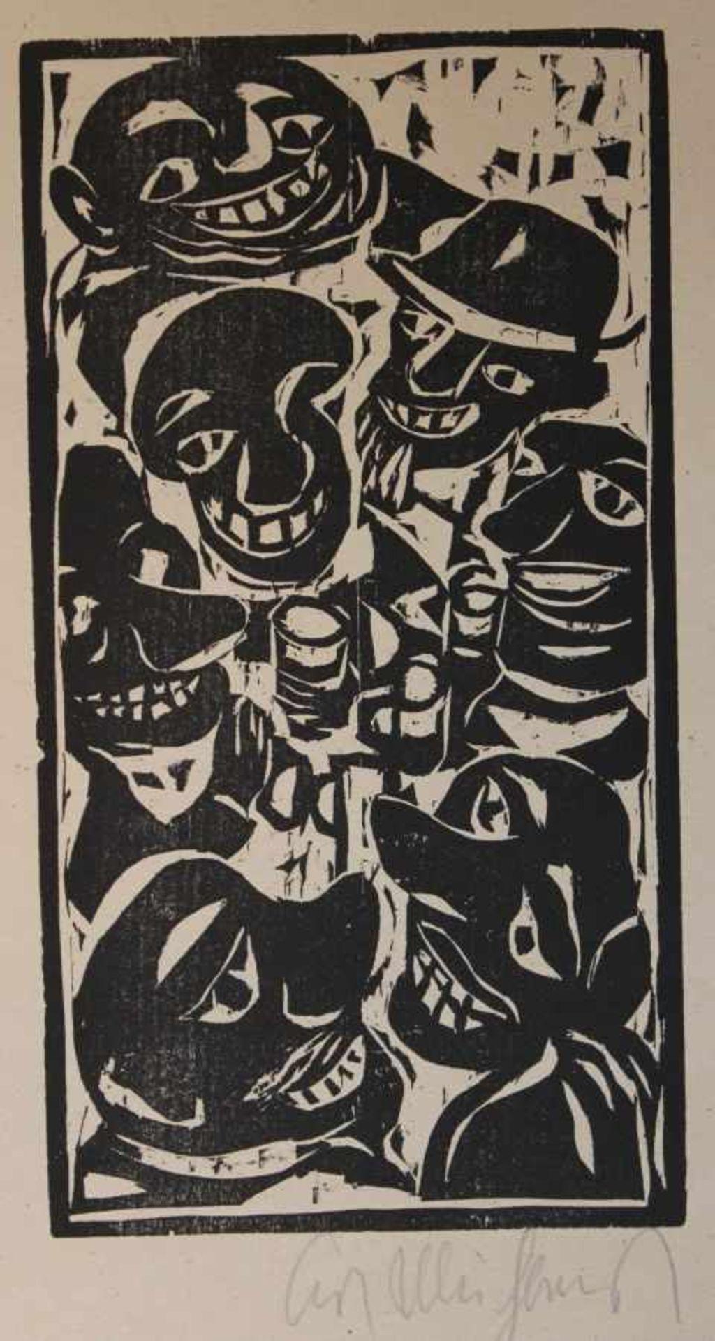 """Los 56 - Drei Holzschnitte - Kurt Mühlenhaupt (1921 Klein Ziescht - 2001 Bergsdorf) """"Ohne Titel"""","""