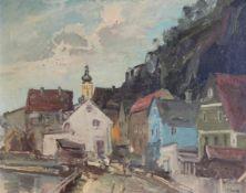"""Gemälde - Rupert Preissl (1925 Eitlbrunn bei Regensburg - 2003) """"Kallmünz"""", r.u. signiert, Öl auf"""