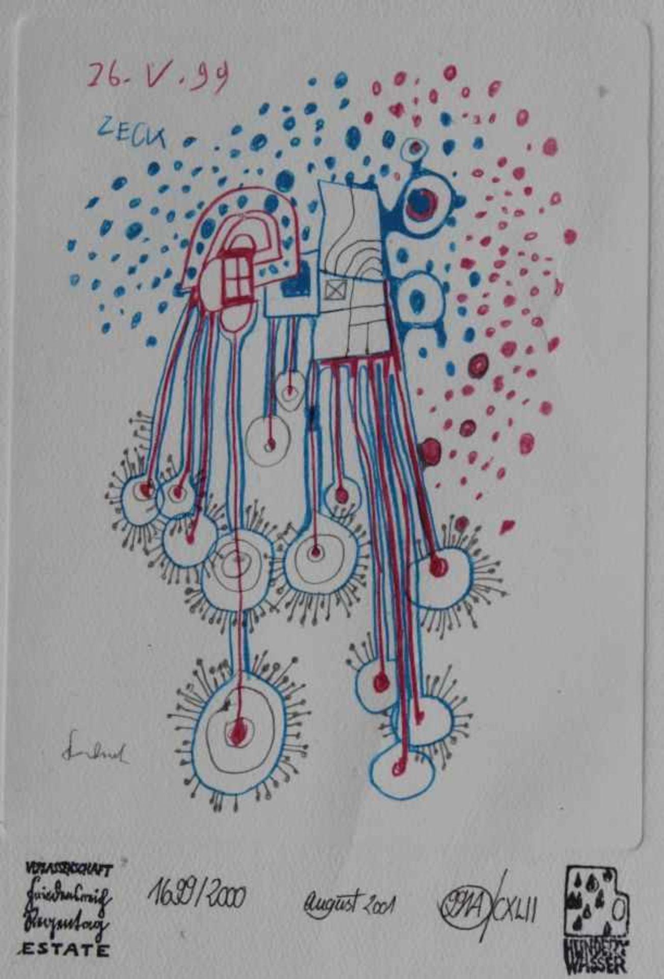 "Los 29 - Kunstdruck - Friedensreich Hundertwasser (1928 Wien - 2000) ""991A / CXLII Doodle For Catalogue"