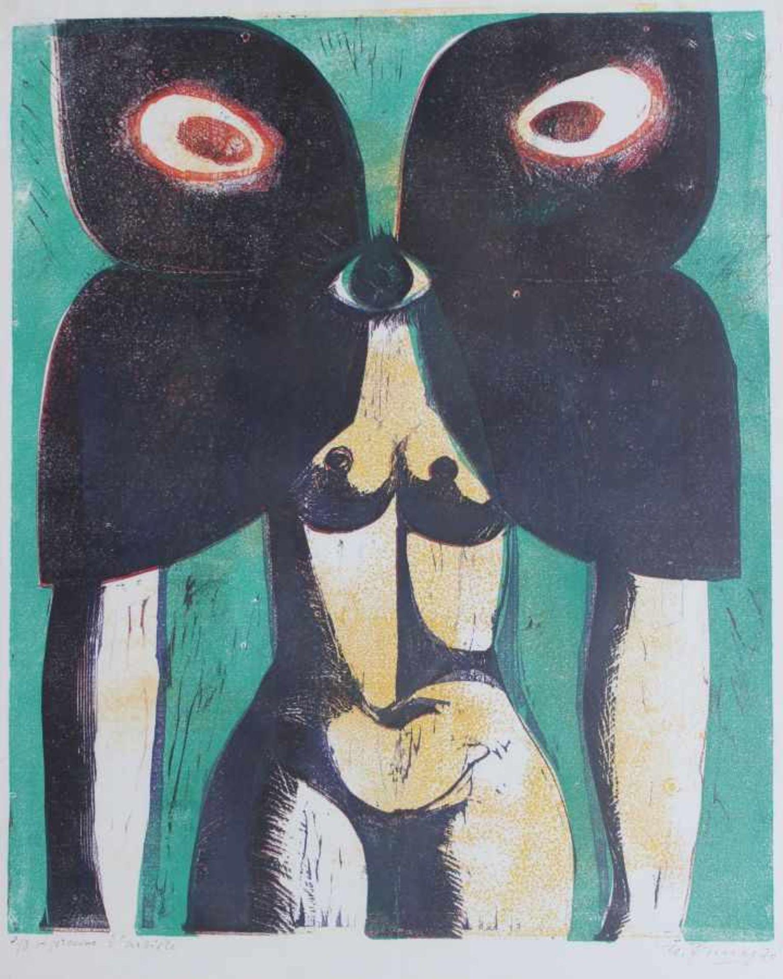 """Los 61 - Große Lithographie - Winfried Tonner (1937 Brünn - 2002 München) """"Akt mit Schmetterling"""", r.u."""