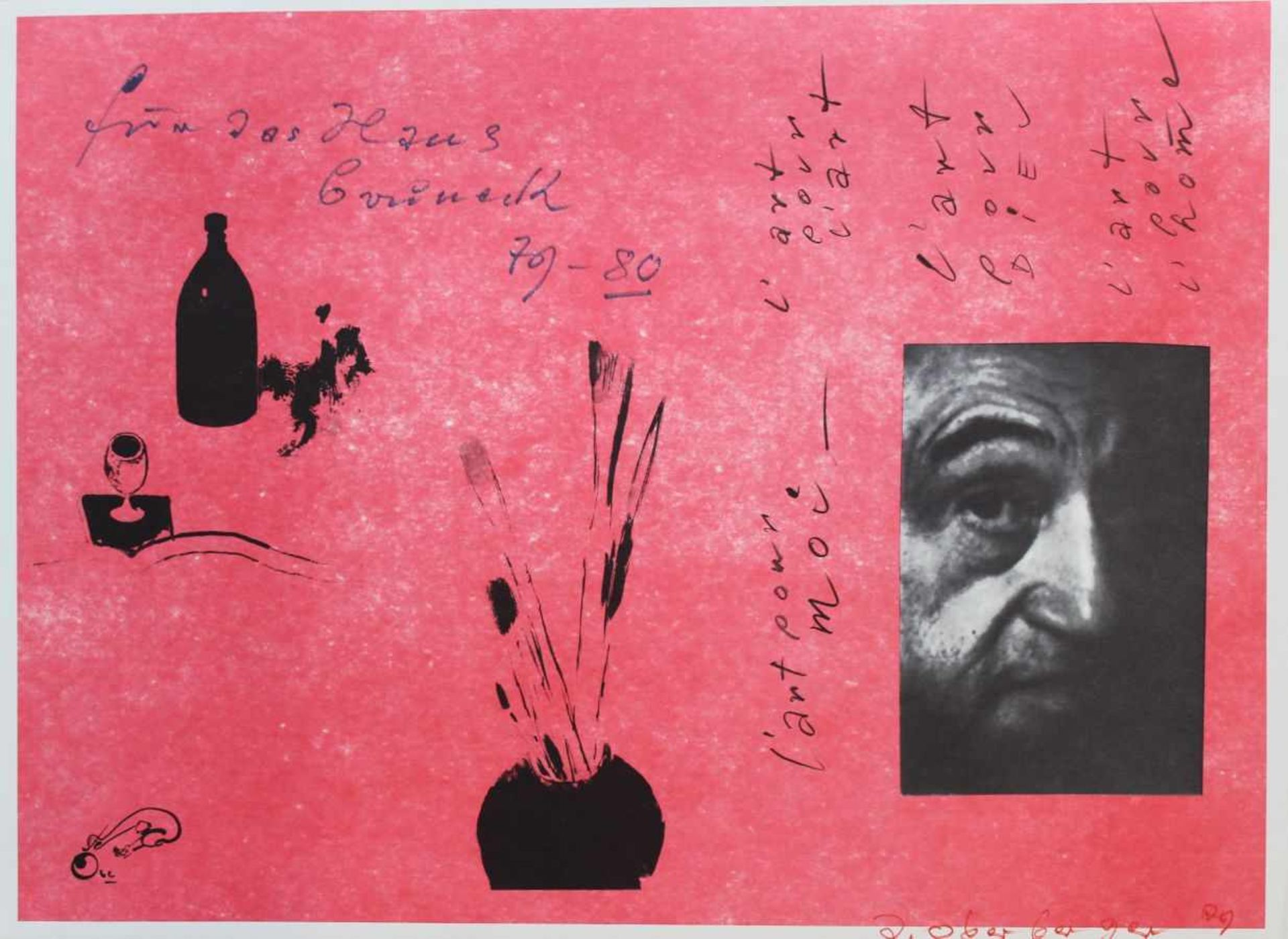 "Los 50 - Farbgrafik - Josef Oberberger (1905 Regensburg - 1994 Kreuth) ""l'art pour ..."", r.u. signiert,"