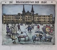 """Lithographie - Kurt Mühlenhaupt (1921 Klein Ziescht - 2001 Bergsdorf) """"Die Druckwerkstatt des"""