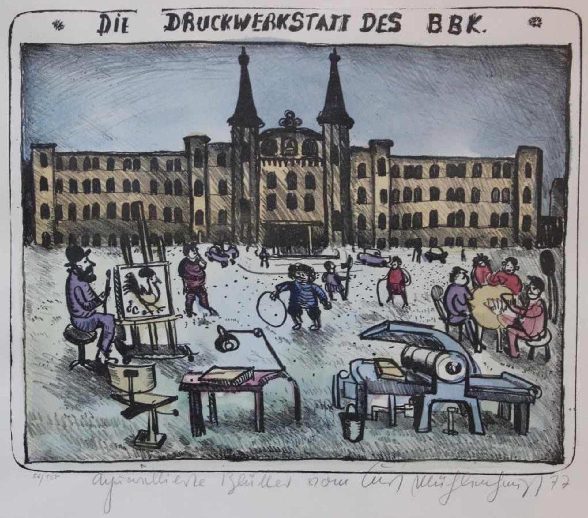 """Los 55 - Lithographie - Kurt Mühlenhaupt (1921 Klein Ziescht - 2001 Bergsdorf) """"Die Druckwerkstatt des"""