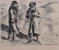 """Lithographie - Ernst Barlach (1870 Wedel - 1938 Rostock) """"Ungleiches Paar 1 - Der arme Vetter"""", r.u."""