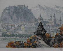 "Farbradierung - Hans FIGURA (1898 Nagykikinda -1978 Wien) ""Salzburg"", r.u. Bleistiftsignatur, r.u."