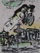 """Farblithographie - Marc Chagall (1887 - 1985 Saint-Paul-de-Vence) """"Le ciel des amoureux"""","""