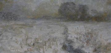 """Gemälde - Hermann Eller (1925 Zwiesel/Bayerischer Wald - 5.4.2009 Passau) """"Wiesbach im Winter"""", l.u."""
