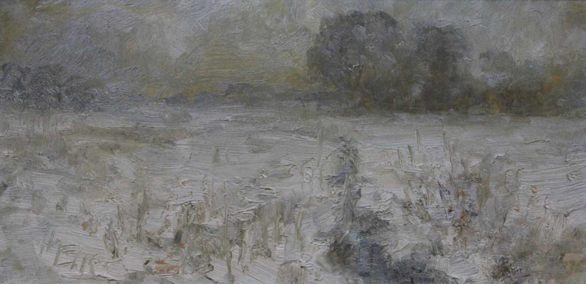 """Los 17 - Gemälde - Hermann Eller (1925 Zwiesel/Bayerischer Wald - 5.4.2009 Passau) """"Wiesbach im Winter"""", l.u."""