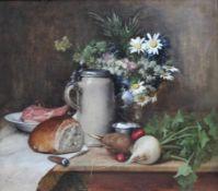 """Gemälde - Ludwig Eibl (Wien 1842 - 1918 München) """"Bayerisches Frühstücksstillleben"""", l.u."""