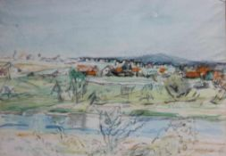 """Aquarell - Kurt von Unruh (1894 Hannover - 1986 Roding) """"Landschaft"""", r.u. signiert, datiert 67,"""