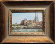 """Gemälde - B. Janner (XX.Jahrhundert) """"Stadtansicht Regensburg"""", r.u. signiert und datiert, Öl auf"""