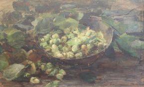 """Gemälde - Lina Röhrer (Ingolstadt 1866 - 1920) """"Stillleben mit Haselnüssen"""", l.o. signiert, Öl auf"""