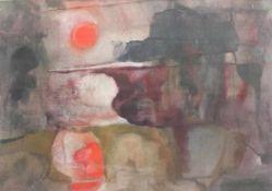 """Aquarell - Willi Ulfig (1910 Breslau - 4.2.1983 Regensburg) """"Landschaft mit gespiegelter Sonne"""", l."""
