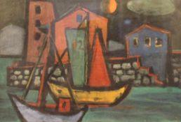 """Mischtechnik - Knut Schnurer (Kösching 1920-2007 Ingolstadt) """"Hafen mit Segelbooten"""", r.u."""