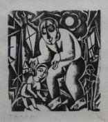 """Holzschnitt - Carry Hauser (1895 Wien - 1985 Rekawinkel) """"Traum"""", r.u. Bleistiftmonogramm und"""