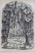 """Lithographie - Walther Wahlstedt (1898 Hamburg - 1972) """"Blick auf die Straße"""", Plattenmonogramm, auf"""