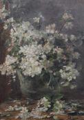 """Gemälde - Lina Röhrer (Ingolstadt 1866 - 1920) """"Blumenstillleben"""", unsigniert, Öl auf Pappe,"""