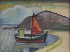 """Aquarell - Knut Schnurer (Kösching 1920-2007 Ingolstadt) """"Küstenlandschaft mit Segelboot"""", l.u."""