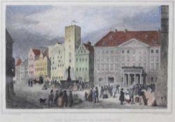 """Lot Stahlstiche - 19.Jahrhundert 1. """"Der Haidplatz in Regensburg"""", nach Kransperger, gest. von"""